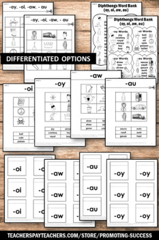 Diphthongs oi oy aw au Interactive Reading Notebook