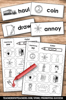 Vowel Diphthongs ou, ow, oi, oy, Phonics Worksheets for