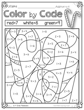 Christmas Color by Number Christmas Math Activities (K