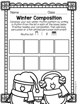 Winter Composition Pages and Mini Lessons by Lindsay