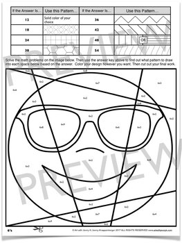 Emoji Math Facts: Times Tables Review Coloring Pages by