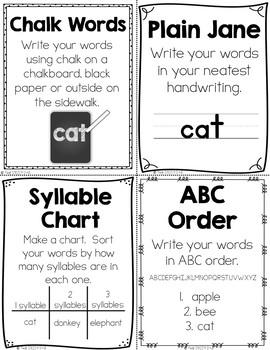 50+ Spelling & Word Work Activities: Half Page Student