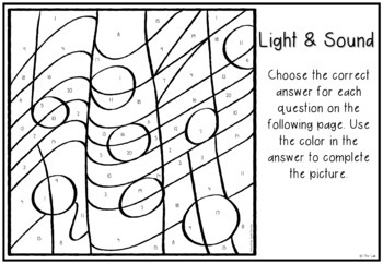 Light & Sound Science Color-by-Number Review Activity by
