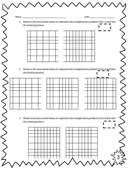 Multiplying Decimals with Models Activity Sheets 5.3D & 5