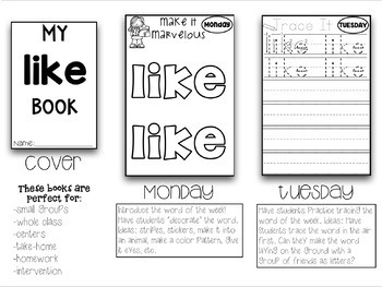 141 Weekly Sight Words Booklets Whole Group Small Group