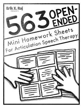 563 Open Ended Mini Homework Sheets for Artic Speech