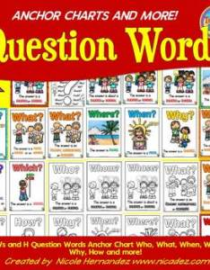 ws and  question words anchor chart who what when where why how more also rh teacherspayteachers