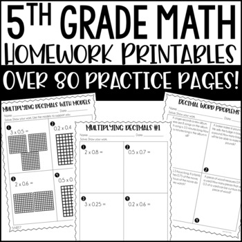 5th Common Core Math Homework Printables by Jennifer
