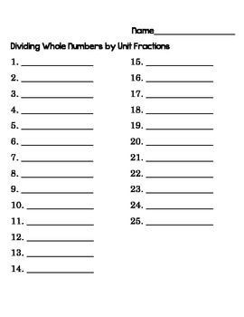 5th Grade Common Core Dividing Whole Numbers by Unit