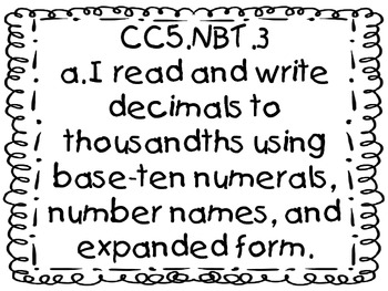 5th Grade Common Core Math Student-Friendly Standards