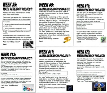 5th Grade Math Projects, Weekly Math Enrichment Projects