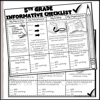 5th Grade Informational Writing Checklist by The Self