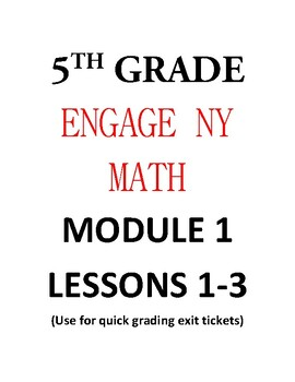 5th Grade Math Engage NY Multiple Choice Exit Tickets by