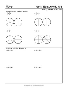 5th Grade Math Homework for the Entire Year! 5th Grade