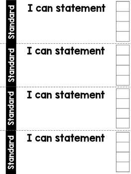 5th Grade Math Common Core I Can Statement Punch Cards by