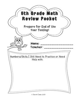 5th Grade Math Review Packet (End of Year Test Prep) by