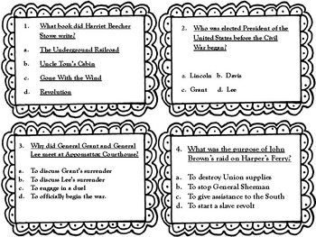 Civil War Task Cards (GMAS: SS4H5) by The Writing Cupcake
