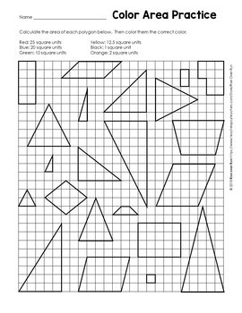 Area of Triangles and Quadrilaterals Coloring Activity by