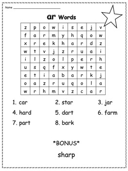 6 R-Controlled Vowels Word Searches (ar, or, er, ir and ur