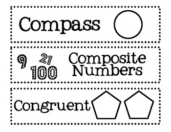 6th, 7th, and 8th Grade Math Common Core Word Wall Words