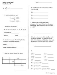 6th Grade Common Core Math by Jeni Hall