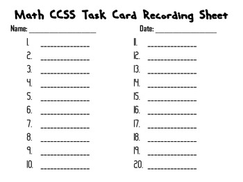 6th Grade Common Core Unit Two Task Cards *All Unit One