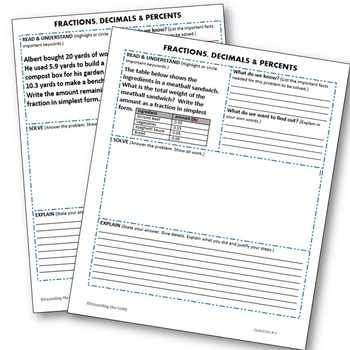 FRACTIONS, DECIMALS, and PERCENTS Word Problems with
