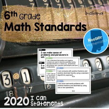 6th Grade Math I Can Statements (Indiana) by Hoosier