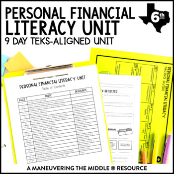 6th Grade Personal Financial Literacy: TEKS by Maneuvering