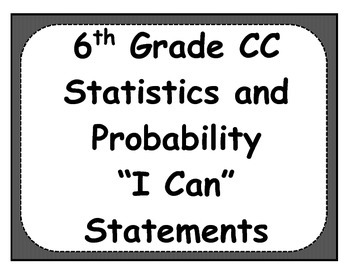 6th Grade Statistics Objectives Posters and Journal