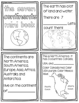 7 Continents Mini Book {Black and White} by Kids and