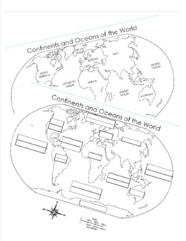 7 Continents and 5 Oceans Blank Map and Answer Key Map by