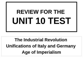 WORLD UNIT 10 LESSON 11. World History Unit 10 Test Review