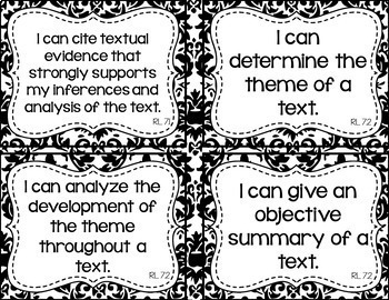7th Grade ELA I Can Statements for CCSS Standards (Damask