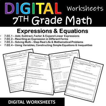 7th Grade Math Worksheets/Homework for Google Classroom