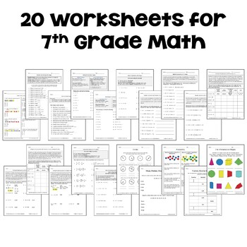 7th Grade Math Home Study Packet for Distance Learning by