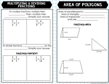 7th Grade Math Review Booklet by To the Square Inch- Kate