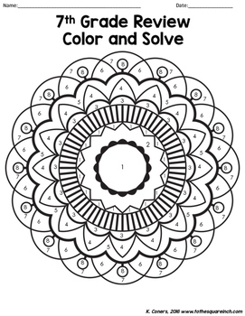7th Grade Math Review Color and Solve by To the Square
