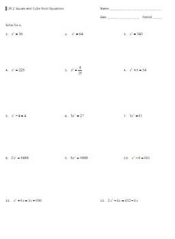 Cube Root Worksheet : worksheet, 8.EE.2, Square, Equations, Worksheet, Resources, Rigor