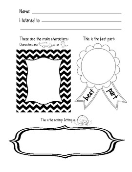 8 Listening Center Response Sheets to Target Common Core