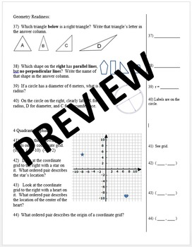 8th Grade Common Core Math Intervention Diagnostic