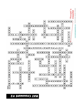 8th Grade ISAT Vocabulary List (Definitions) and Crossword