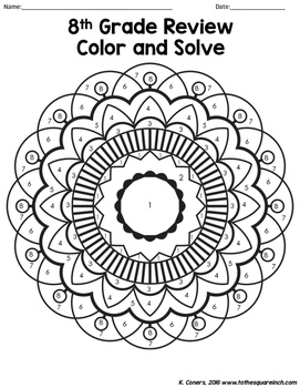 8th Grade Math Review Color and Solve by To the Square