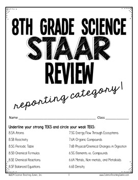 8th Grade Science STAAR Test Prep Review- Reporting
