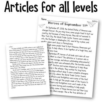 September 11 Using Song Lyrics and Hero Craftivity: A 9/11