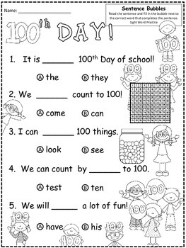 A+ 100th Day Of School: Fill In the Blank.Multiple Choice
