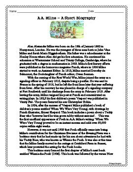 A. A. Milne Biography Activity and Constructed Response by