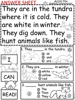 A+ Arctic Fox Comprehension: Differentiated Instruction