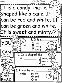 A+ Candy Cane Comprehension:Differentiated Instruction For