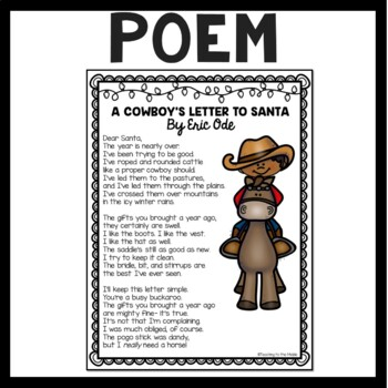 A Cowboy's Letter to Santa, poem, Reading Comprehension
